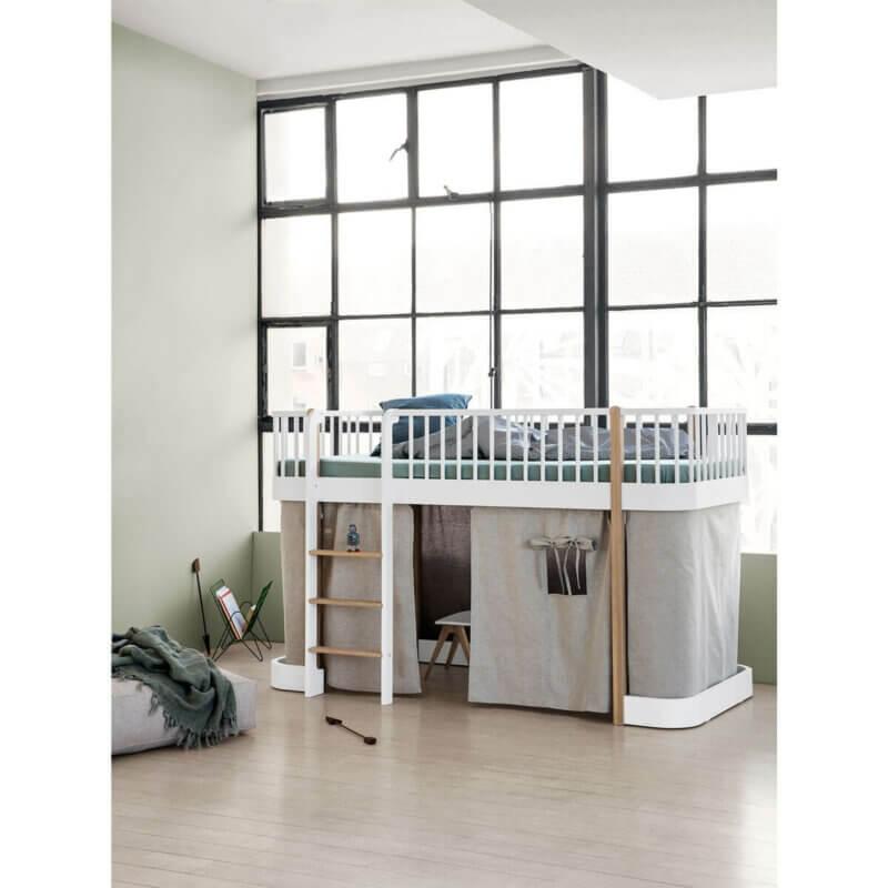 Oliver Furniture halbhohes Bett Wood Eiche Leiter vorne