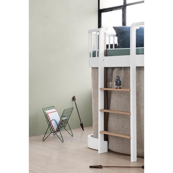 Oliver furniture halbhohes Bett Wood Eiche Leiter vorne
