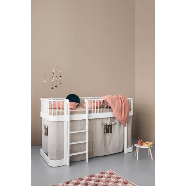 Oliver Furniture halbhohes Bett Wood weiss, Leiter vorne
