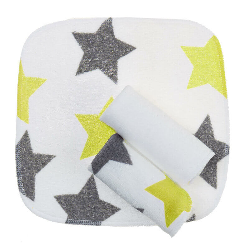 Zewi-Waschtuchset Sterne grau/lindgrün