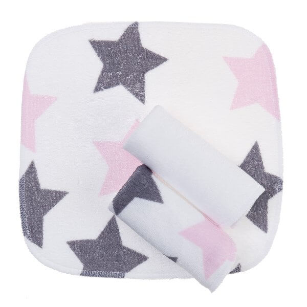 Zewi-Waschtuchset Sterne grau/rosa