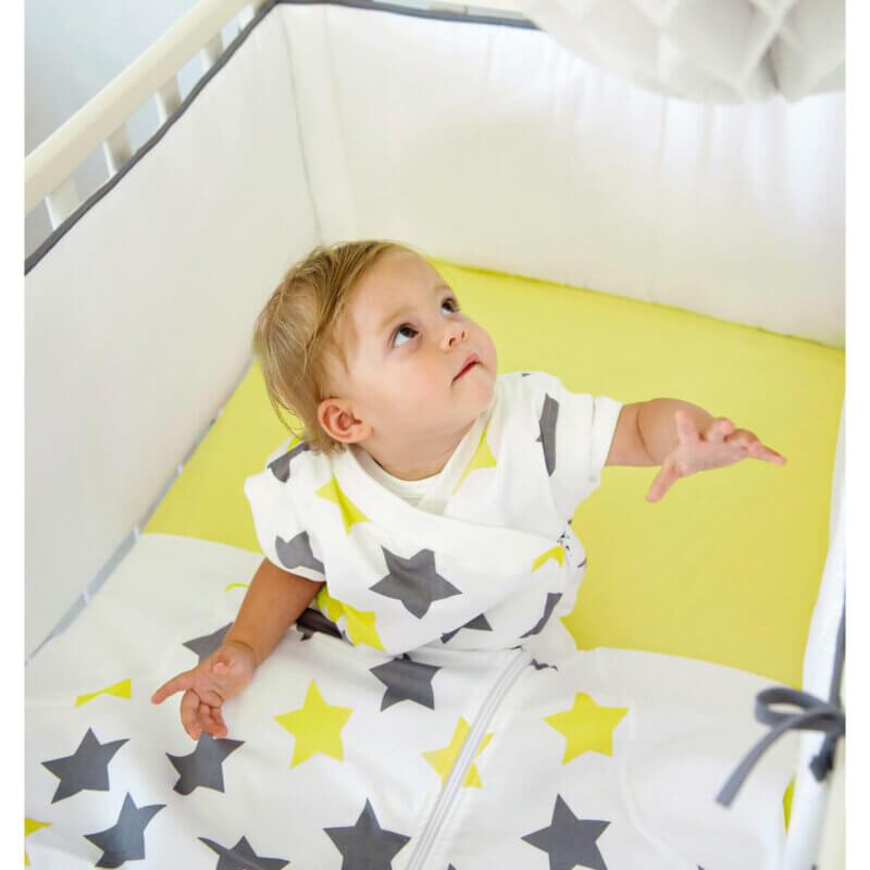 Zewi Schlafsack flanell Sterne grau/lindgrün