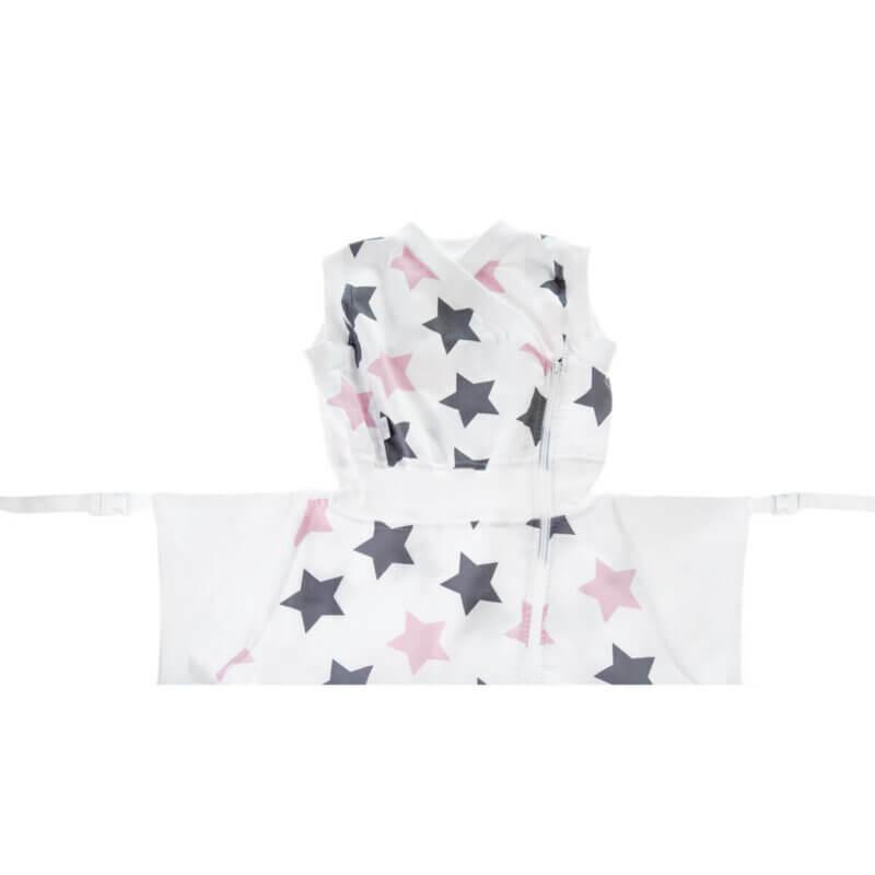 Zewi Schlafsack flanell Sterne grau/rosa