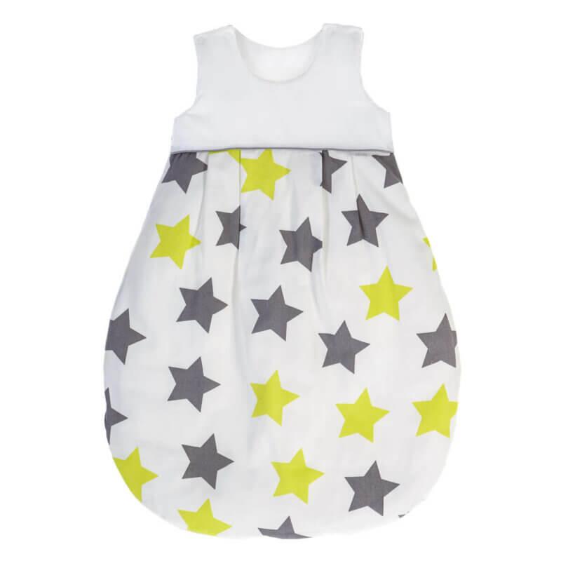 Zewi Ganzjahresschlafsack Sterne grau/lindgrün