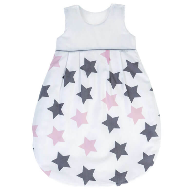 Zewi Ganzjahresschlafsack Sterne grau/rosa
