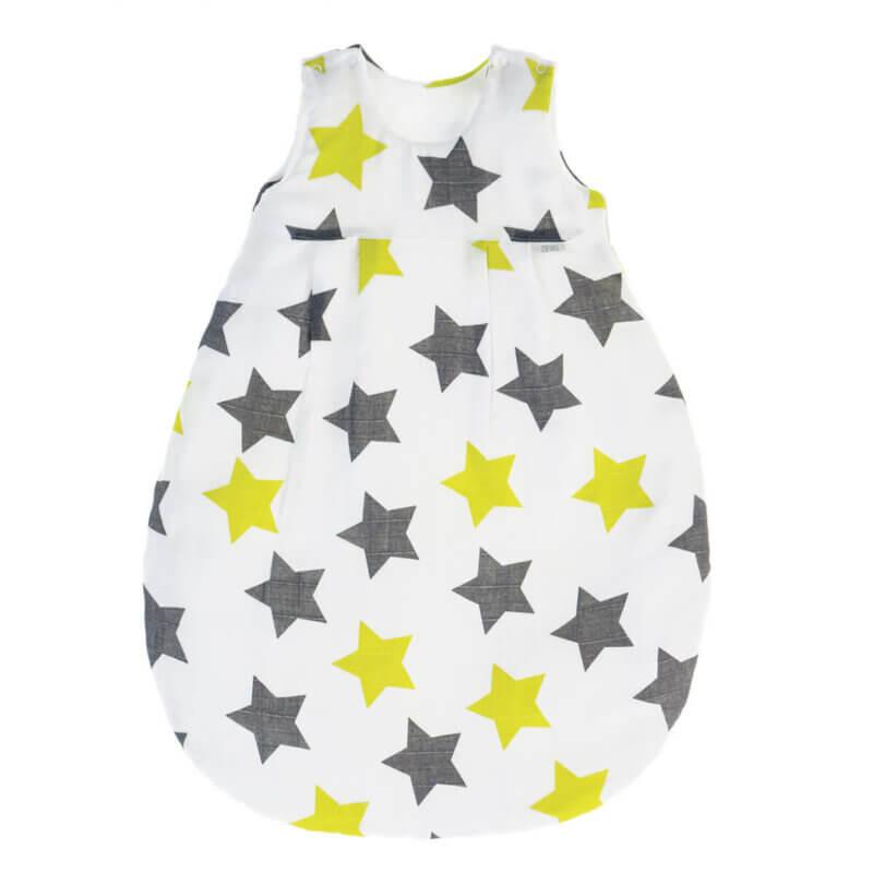 Zewi Schlafsack BaumwollMusselin Sterne grau/lindgrün