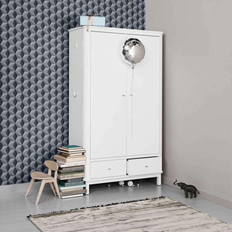 Oliver furniture Kleiderschrank Wood 2-türig weiss