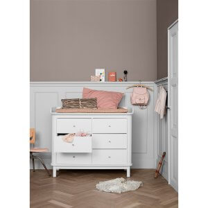 Oliver furniture Wickelkommode WOOD 6 Schubladen weiss