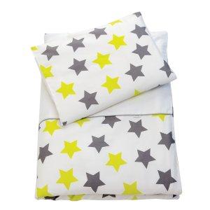 Zewi Bettwäsche-Garnitur Sterne grau/lindgrün