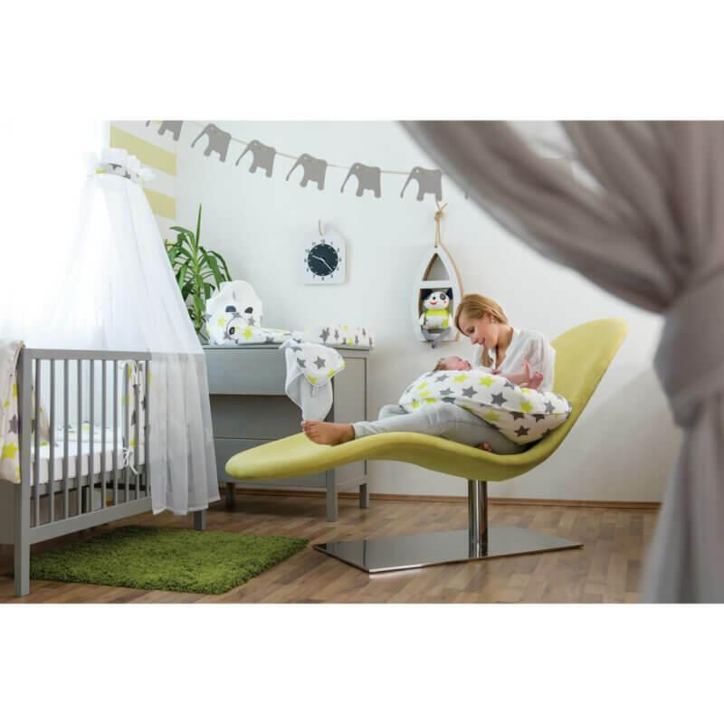 Zewi Bettwäsche Garniture Sterne grau/lindgrün