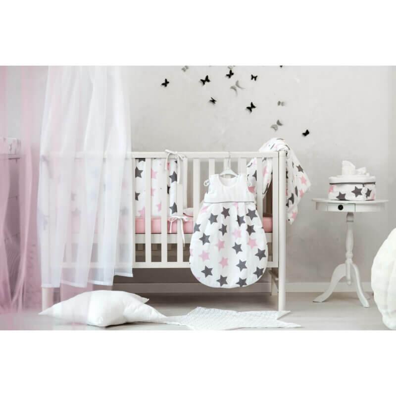 Zewi Bettwäsche Garnitur Sterne grau/rosa
