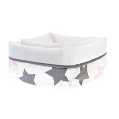 Zewi Pflegekörbchenset Sterne grau/rosa