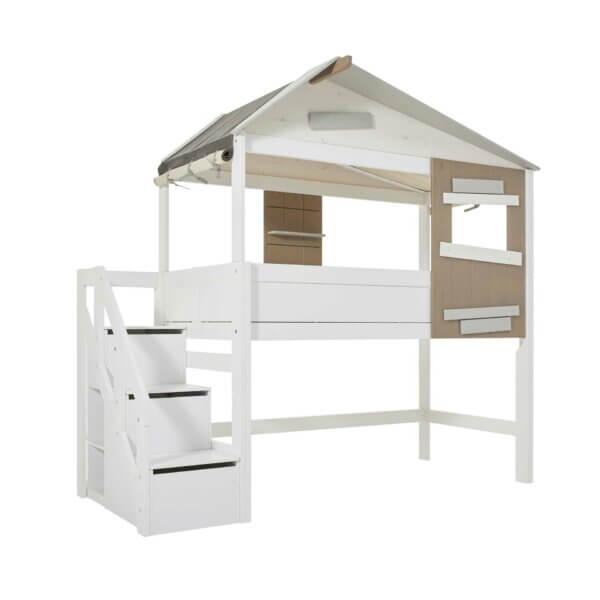 Lifetime Hüttenbett Hideout mit Treppe weiss lackiert 47270-10