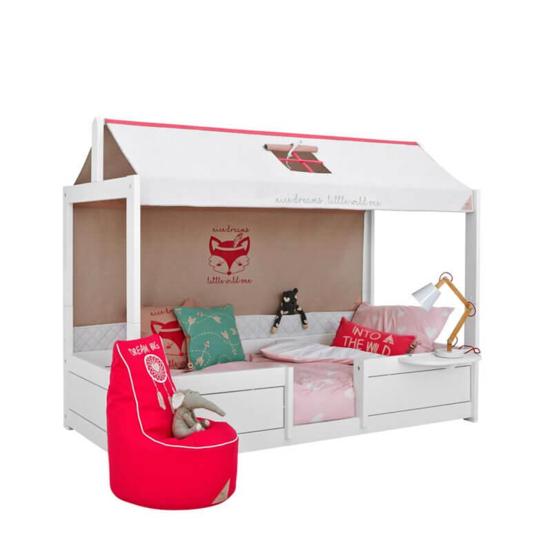 Lifetime 4 in 1 Bett mit Stoffdach und Rückwand