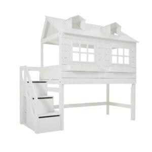 Lifetime halbhohes Bett Lakehouse mit Treppe weiss lackiert 4764-10