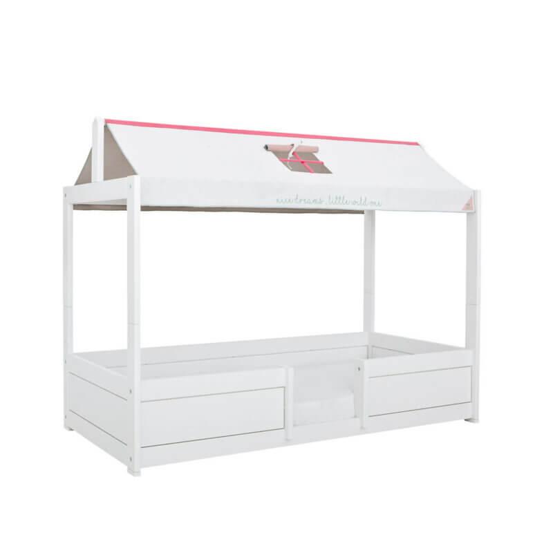 Lifetime 4 in 1 Bett mit Dachkonstruktion und Stoffdach rosa
