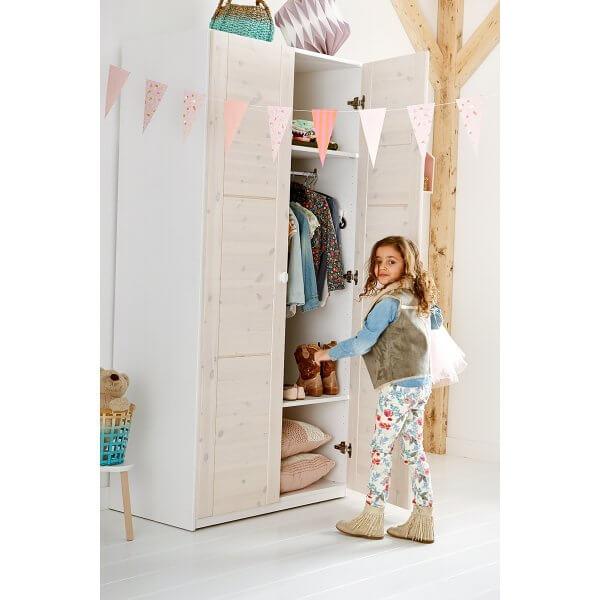 Lifetime Kleiderschrank 2-türig Korpus weiss, Türen white wash