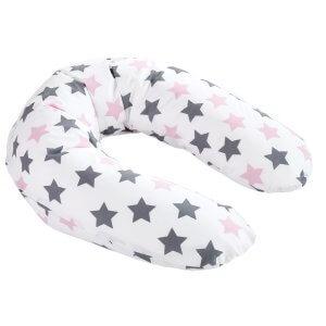 Zwei Bezug zu Stillkissen Sterne grau/rosa