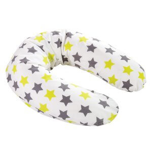 Zewi-Stillkissen Sterne grau/lindgrün