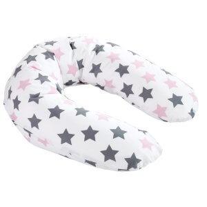 Zewi-Stillkiussen Sterne grau/rosa