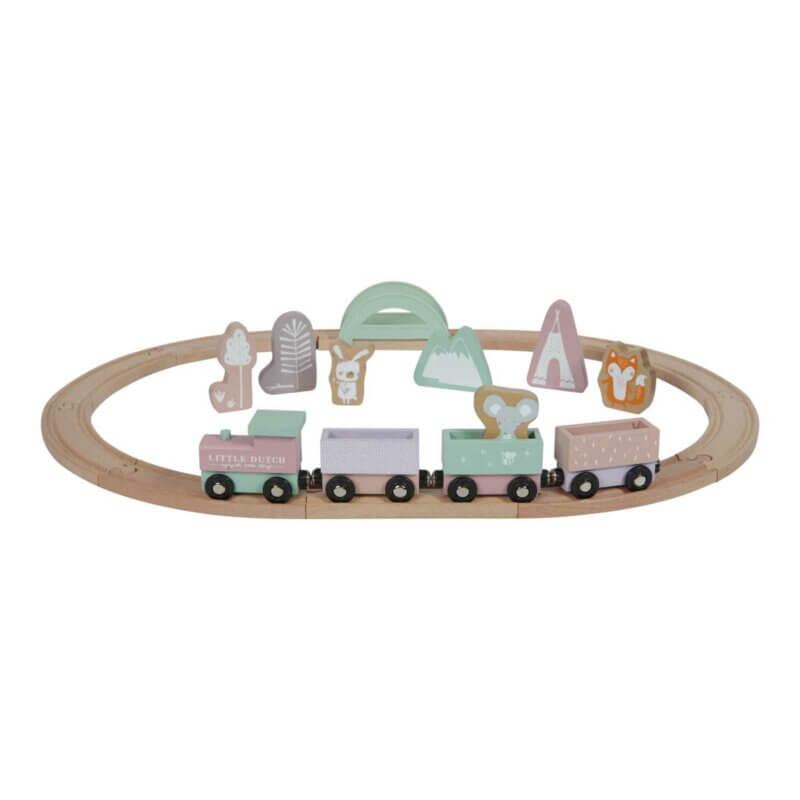 Little dutch Holz-Eisenbahn mit Schienen rosa_Web