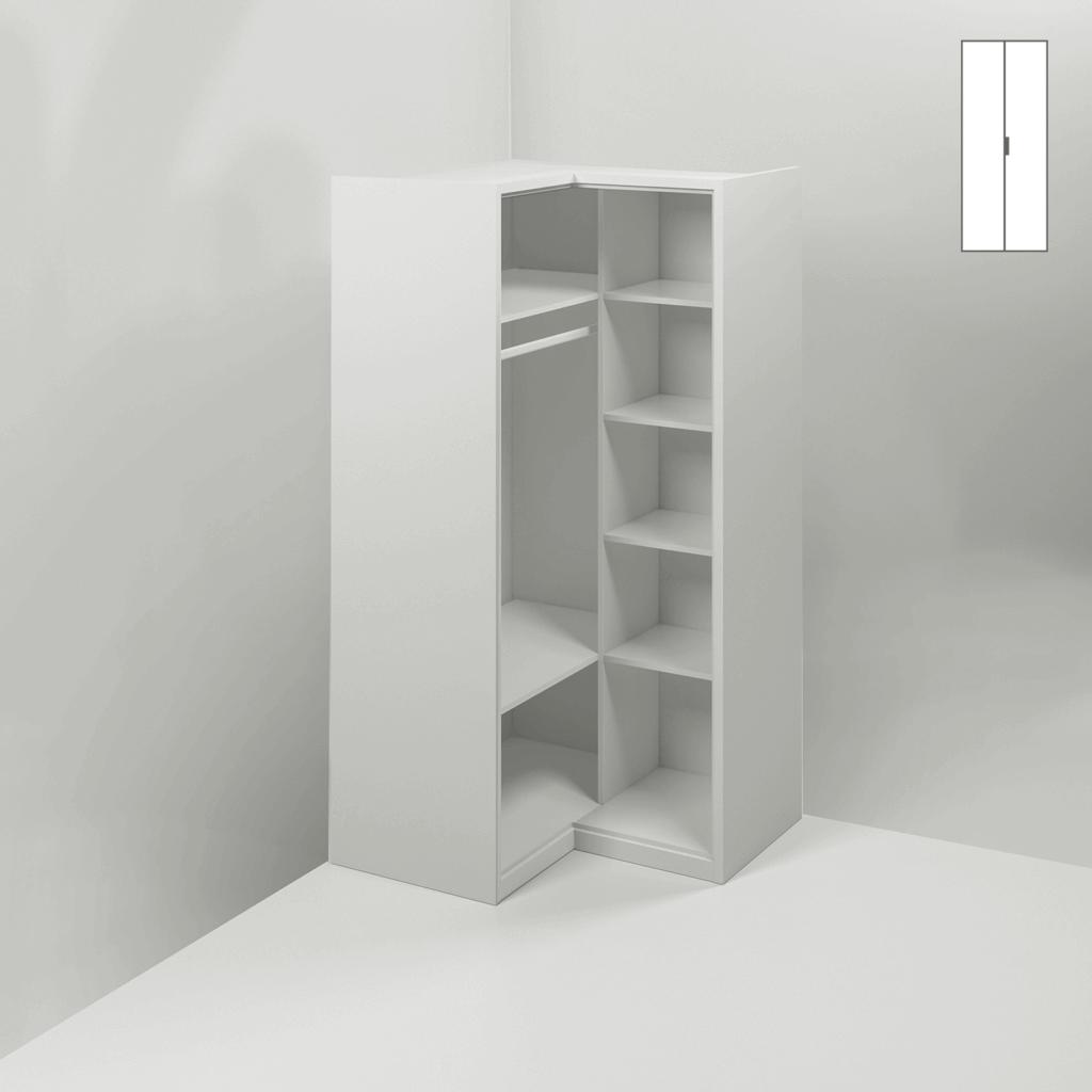 MUBA Eckschrank 2 Türen +2 lange Fachböden +4 kurze Fachböden + Kleiderstange