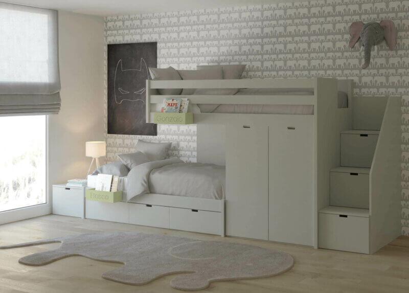 MUBA Etagenbett mit Kleiderschrank und Treppe