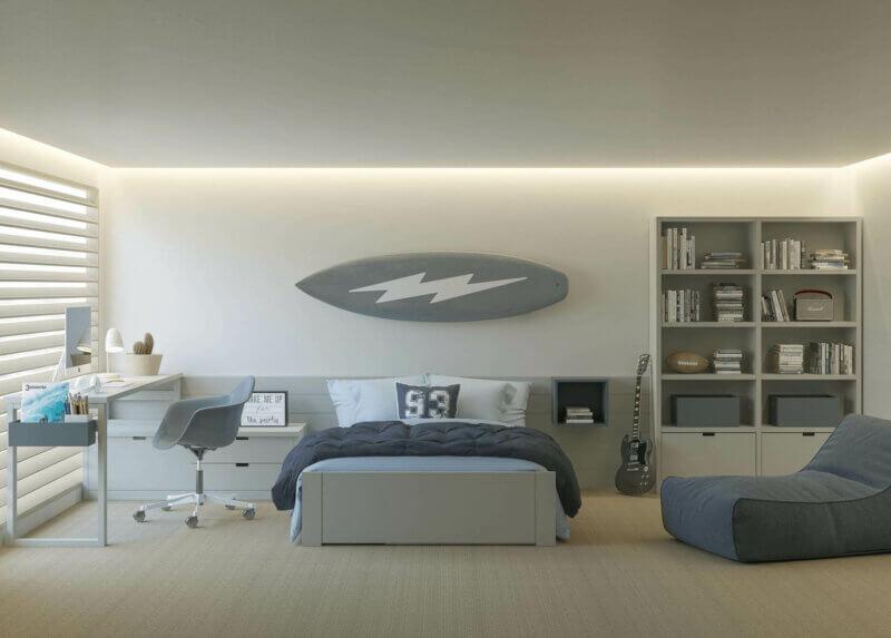 MUBA cooles Jugendzimmer mit Bett, Schreibtisch und Regal