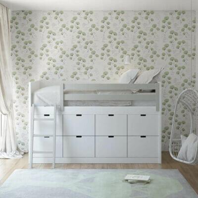 MUBA halbhohes Bett mit Leiter und Staufächer