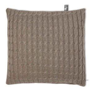 Kissen Zopf uni 40 x 40 cm taupe Vorderseite