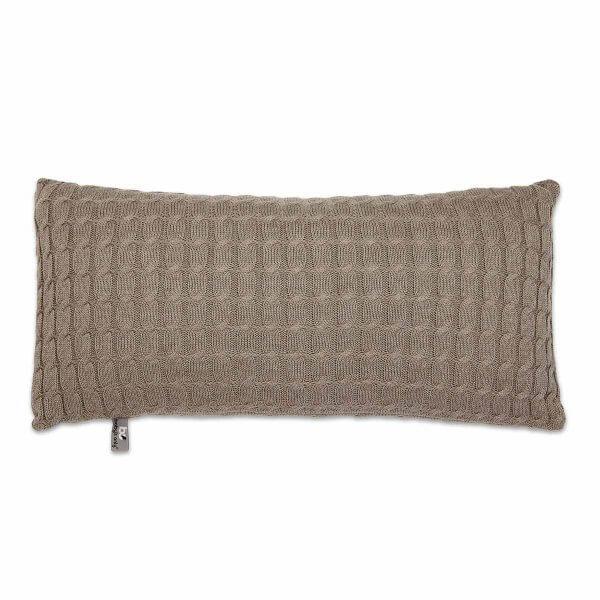 Kissen Zopf uni 60 x 30 cm taupe Vorderseite