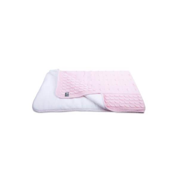 """Babydecke Teddyfutter """"Zopf"""" 37 x 30,6 cm rosa"""