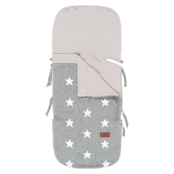 Sommer-Fusssack für Babyschale 0+ Stern grau / weiss