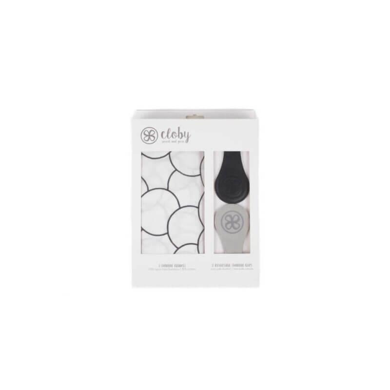 Cloby Swaddle & Magnet-Clips Leder schwarz/grau Canvas