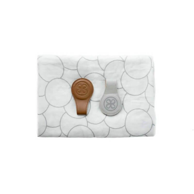 Cloby Swaddle & Magnet-Clip Leder braun/Canvas grau