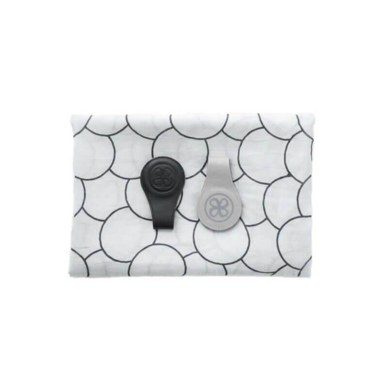 Cloby Swaddle & Magnet-Clips Leder schwarz/Canvas grau