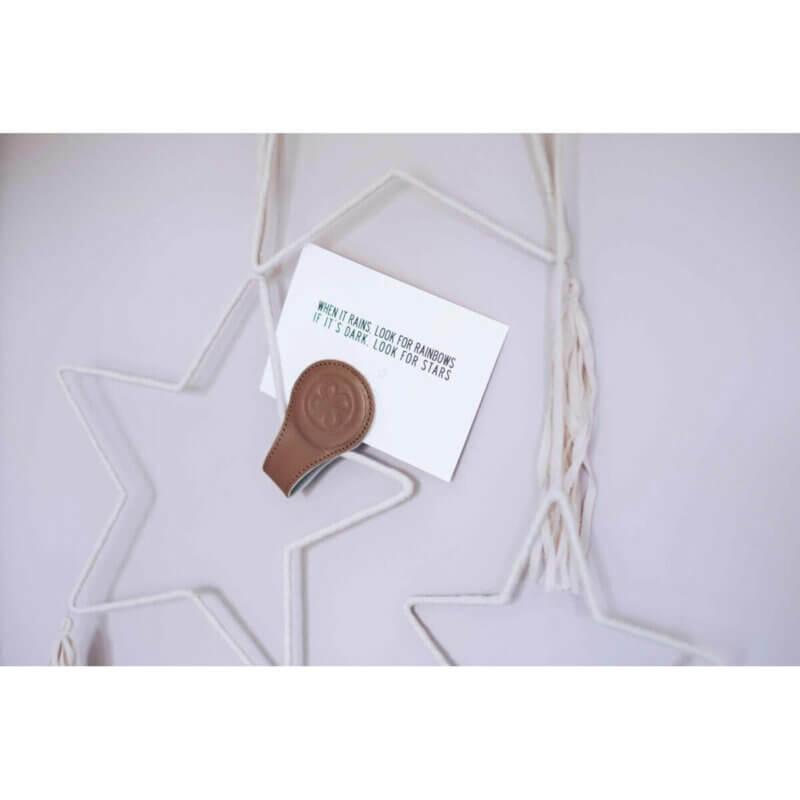 Cloby Magnet-Clip braun Leder/Rückseite grau Canvas