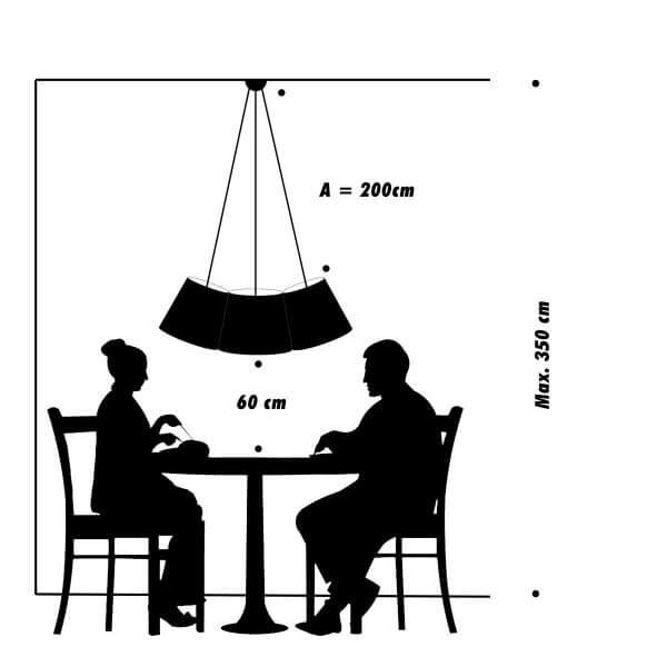 FRAUMAIER Cluster über Tisch Bogenform